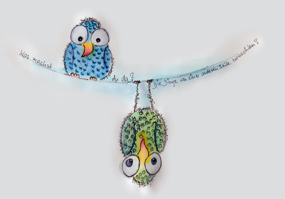 zwei Vögel auf einem Seil mit Spruch, gezeichnet von Sylvia Jungo