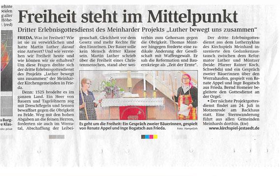 Zeitungsartikel vom 26. Mai zum Gottesdienst in Frieda