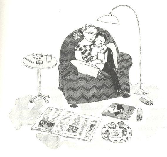 Lola Renn Illustration, Zeichnung Mutter liest vor, Kinderbuch