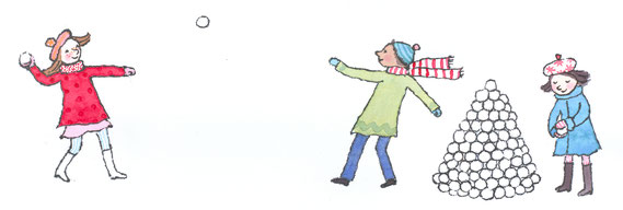 Lola Renn Illustration Kinder im Schnee snowball