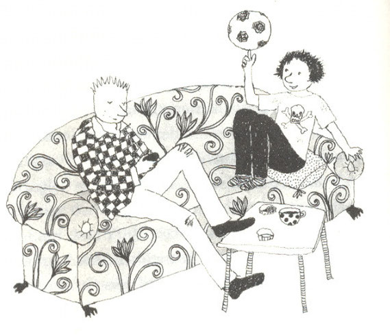 Lola Renn Illustration, Zeichnung Kinder auf Sofa, Kinderbuch
