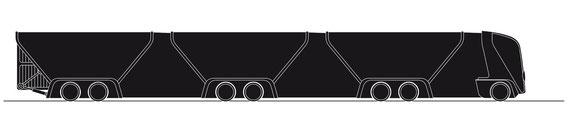 Zugfahrzeug mit drei Anhängern (Eurocombi)