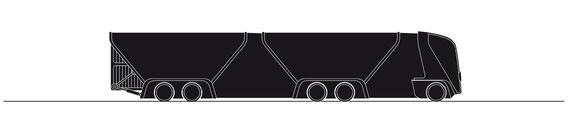 Zugfahrzeug mit zwei Anhängern