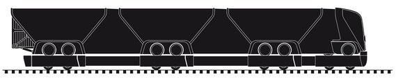 Zugfahreug mit maximaler Anhängerzahl auf der Schiene