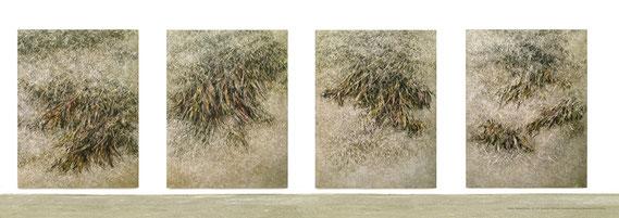 Broken Flowers I-IV 2015 Kunstharz, Steinmehl, Acrylfarbe, Ölfarbe auf Leinwand je 210 x 160 cm