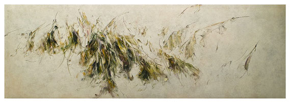 Skriptur XXVII 2018 Kunstharz, Steinmehl, Acrylfarbe, Ölfarbe auf Leinwand 80 x 240 cm