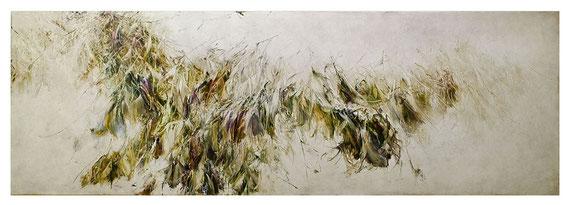Skriptur XXIII 2017 Kunstharz, Steinmehl, Acrylfarbe, Ölfarbe auf Leinwand 80 x 240 cm (Lisa Norris Gallery, London)