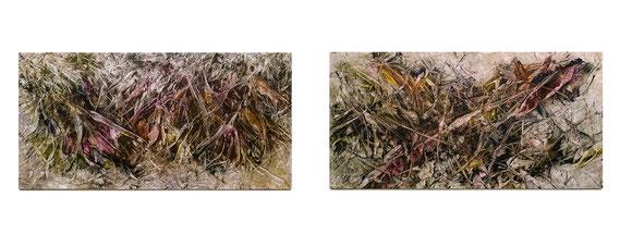 Skriptur 23.1.2015 / 26.2.2015 Kunstharz, Steinmehl, Aquarell, Ölfarbe auf Aluminium 25 x 50 cm