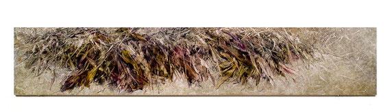 Skriptur 10.2.2015 Kunstharz, Steinmehl, Aquarell, Ölfarbe auf Aluminium 30 x 160 cm