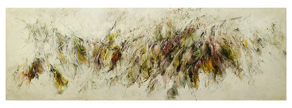 Skriptur 27.6.2017 Kunstharz, Steinmehl, Acryl, Öl, auf Papier 50 x 150 cm