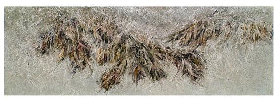 Skriptur 8.7.2015 Kunstharz, Steinmehl, Acryl,  Öl, auf Papier 50 x 150 cm