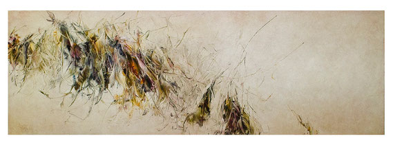 Skriptur 9.8.2017 Kunstharz, Steinmehl, Acryl, Öl, auf Papier 50 x 150 cm