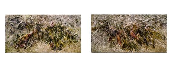 Skriptur 26.1.2015 / 27.1.2015 Kunstharz, Steinmehl, Aquarell, Ölfarbe auf Aluminium 25 x 50 cm
