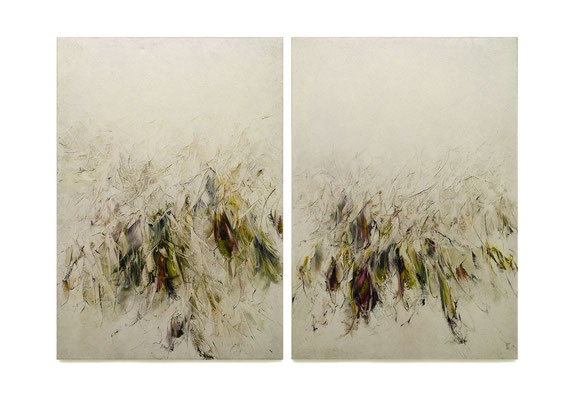 Skriptur 16.2. 2019 Kunstharz, Steinmehl, Acrylfarbe, Ölfarbe auf Leinwand 2 Teile je 100 x 70 cm