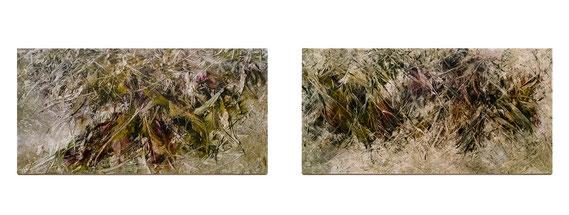 Skriptur 28.1.2015 / 29.1.2015 Kunstharz, Steinmehl, Aquarell, Ölfarbe auf Aluminium 25 x 50 cm