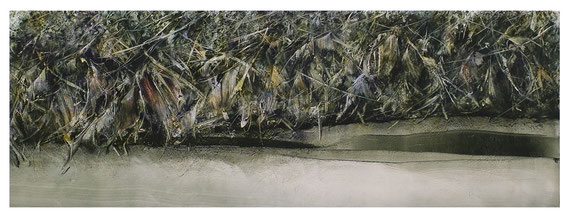 passaggio 12.12.2016 Kunstharz, Steinmehl, Acrylfarbe, Ölfarbe auf Papier 39 x 110 cm