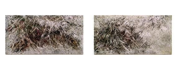 Skriptur 25.1.2015 / 18.1.2015 Kunstharz, Steinmehl, Aquarell, Ölfarbe auf Aluminium 25 x 50 cm