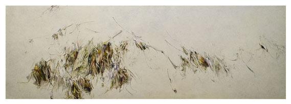 Skriptur XXVI 2018 Kunstharz, Steinmehl, Acrylfarbe, Ölfarbe auf Leinwand 80 x 240 cm