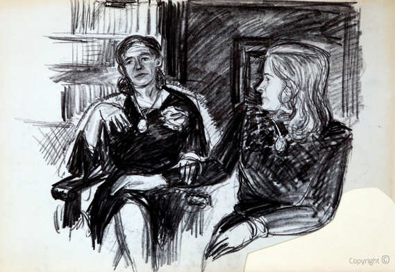 Erwin Bowien (1899-1972): Graphitstudie von Ellen Marga Schmidt im Salon des Schwarzen Hauses, ca. 1950