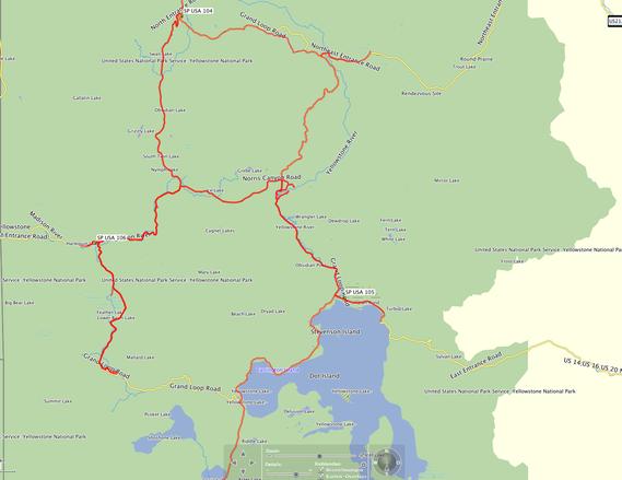 Die von uns gefahrene Strecke im Yellowstone NP