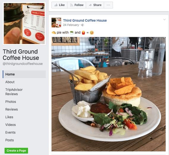 Photo d'un plat sur la page Facebook de Third Ground Coffee House