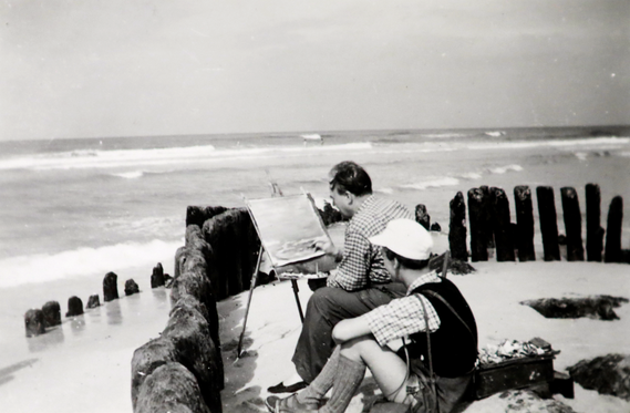 Erwin Bowien painting the sea in Sylt, summer 1952