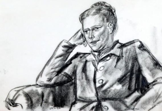 Erwin Bowien ( 1899-1972): Grafitzeichnung der norwegischen Nobelpreisträgerin Sigrid Undset