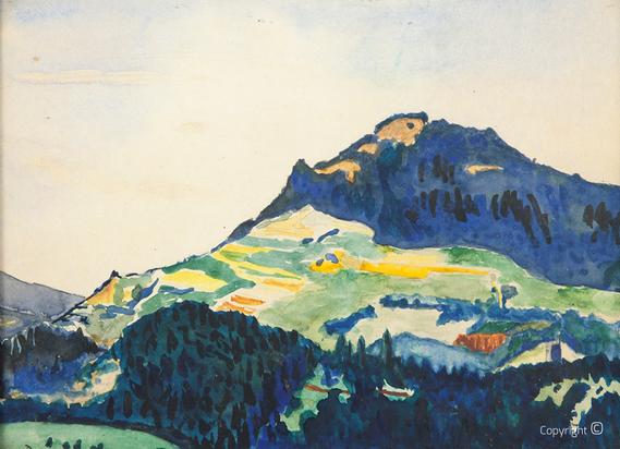 Erwin Bowien (1899-1972): Landschaft bei Neuchâtel in der Schweiz, Aquarell, 1917