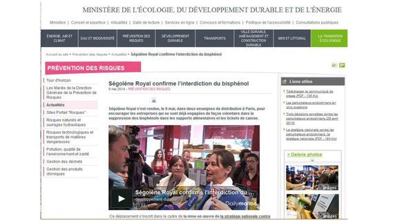 Source : site du MEDDE - Déplacement sur site Ségolène Royal - SNPE - mai 2014.