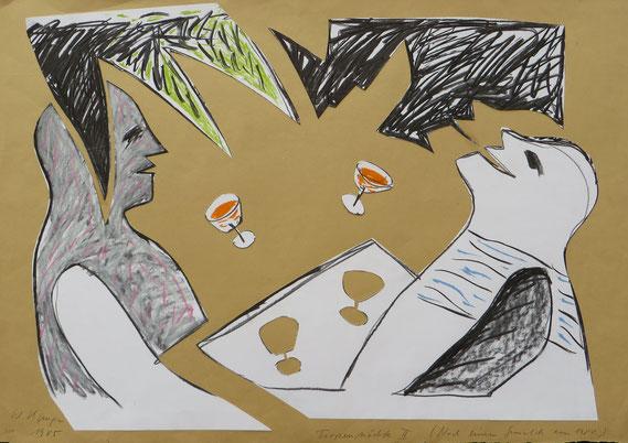 Tropennächte, 1985, ausgeschnittene Zeichnungsreste auf dickem Packpapier, 70/100cm