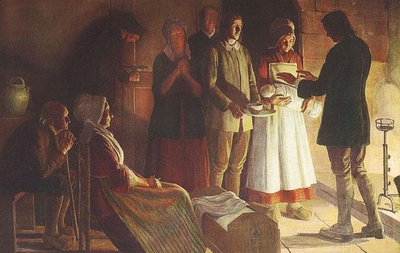 Jeanne Lombard, »Un Baptême clandestin (vers 1730)« / © Musée du Désert, Mialet (F)