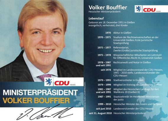 Autogrammkarte Volker Bouffier (*1951) / © Sammlung PRISARD