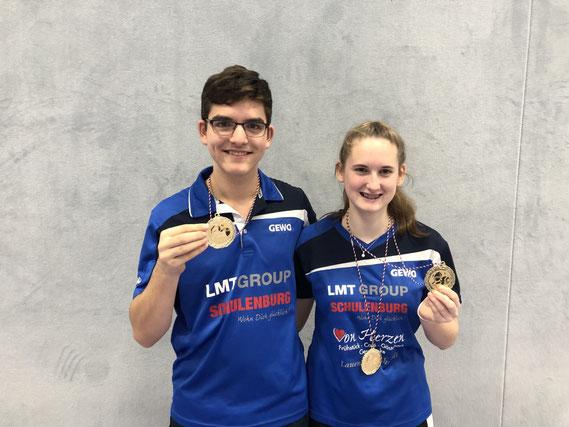 Seite an Seite nicht zu schlagen: Das TSV-Duo Michelle Weber/Tim Jensen triumphierte bei den Landesmeisterschaften im Jugend-Mixed.