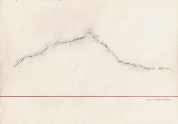 mount everest 8848m. Paustechnik, Graphit auf Bütte, 80 x 110 cm, 2003