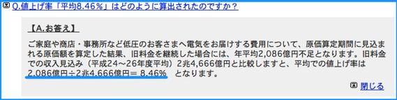 東京電力 値上げ8.46% とは