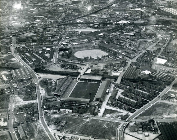 This aerial view was taken in 1975 when the area was being demolished for rebuilding. St Andrew's football ground is in the foreground with Kingston Hill recreation ground beyond. The Coventry Road is on the left of the picture, Cattell Road on the right.