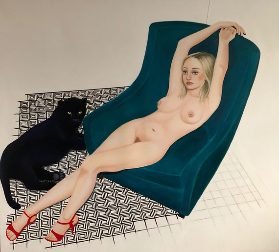 Maja with Panther/One, Oil on Canvas, 175 x 190 cm, 2019
