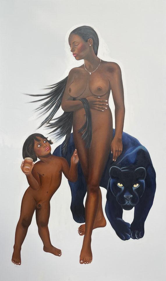 Venus with Amor as Honeythief/One, Oil on Canvas, 200 x 120 cm, 2020.