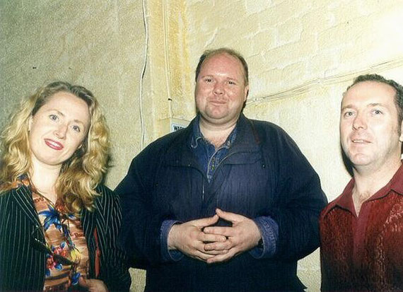 Clare Moore, Brecon Walsh & Dave Graney 3RRR Xmas party 1994- Michael Rosenstein photographer