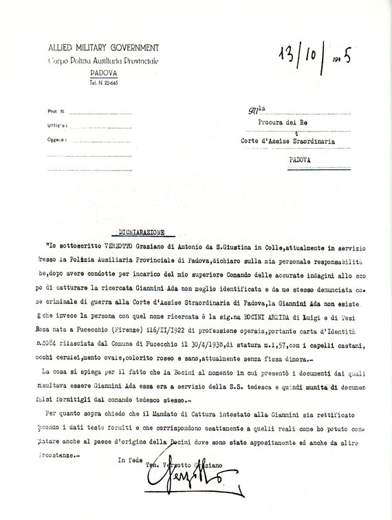 Denuncia originale dove Graziano Verzotto scrive ceh la ADA GIANNINI non esiste. I verbali pieni di contraddizioni lasciano effettivamente aperte tante domande.