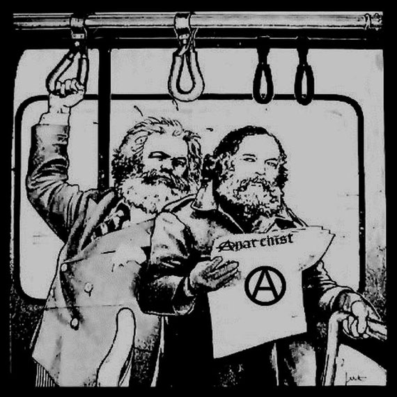 Karl Marx & anarkisten Mikhail Bakunin. - Måske på vej hjem fra et møde i  'Første Internationale' (Internationale Arbeiter-Assoziation IAA, 1864-1900) ...?  :)
