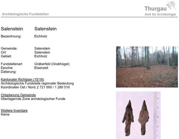 Fundstellenbeschrieb des Amtes für Archäologie TG