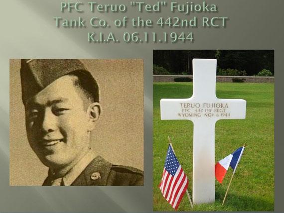 PFC Ted Fujioka grave marker at Epinal