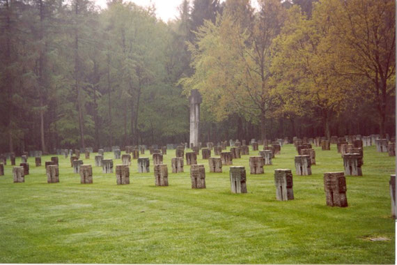 "Huertgen cemetery / The German war cemetery is still on the former ground of the minefield ""Wilde Sau"". The cemetery is now home for 3001 fallen soldiers. The graves contain 3 german soldiers buried under the so called ""Kameraden-Kreuz""."