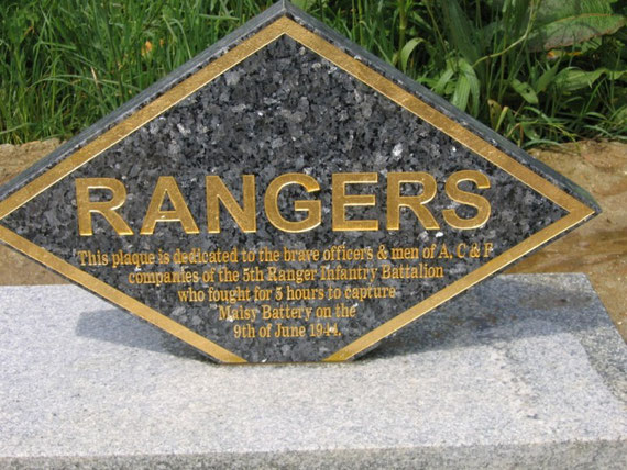 Memorial plaque to commemorate the 18 members of 2nd and 5th Rangers who were killed and wounded capturing it on the 9th of June 1944