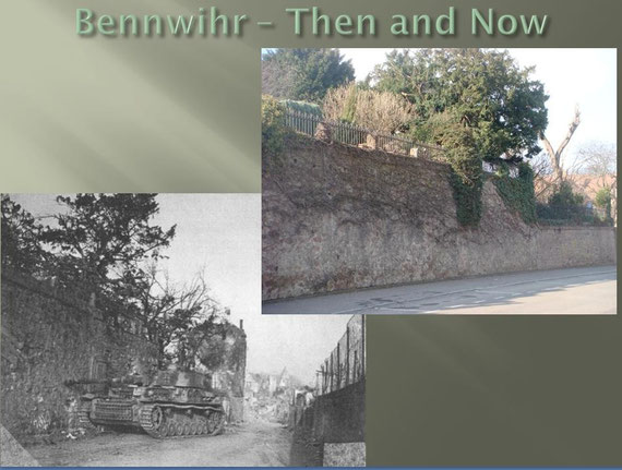 "The same location today. This wall is called ""the wall of the martyr"" and was together with the statue known as ""Monument aux morts dit Monument de la Fidélité à Bennwihr"" the only things standing after the severe battle."