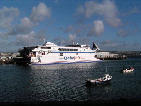 Condor 10 moored in Weymouth.