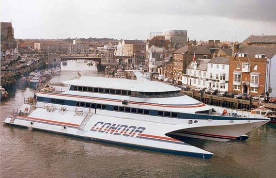 Condor 9 moored in Weymouth.
