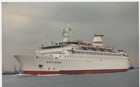 Gotland arriving in Portsmouth.