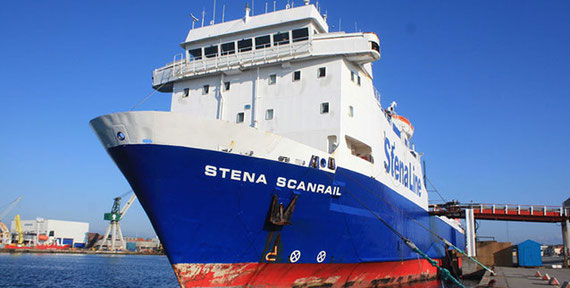 Stena Scanrail berthed.